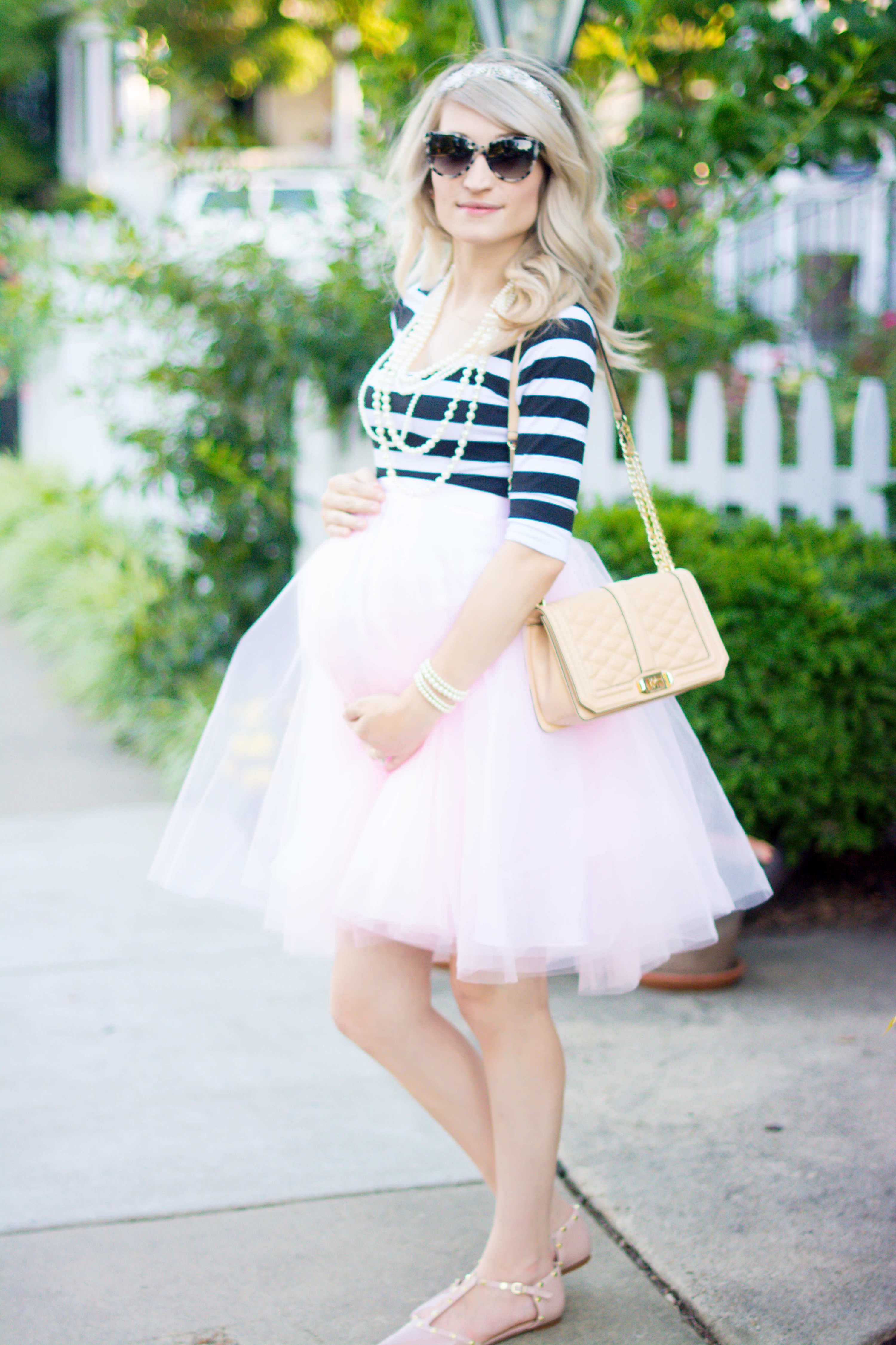 How To Style Your Baby Bump In A Tulle Skirt