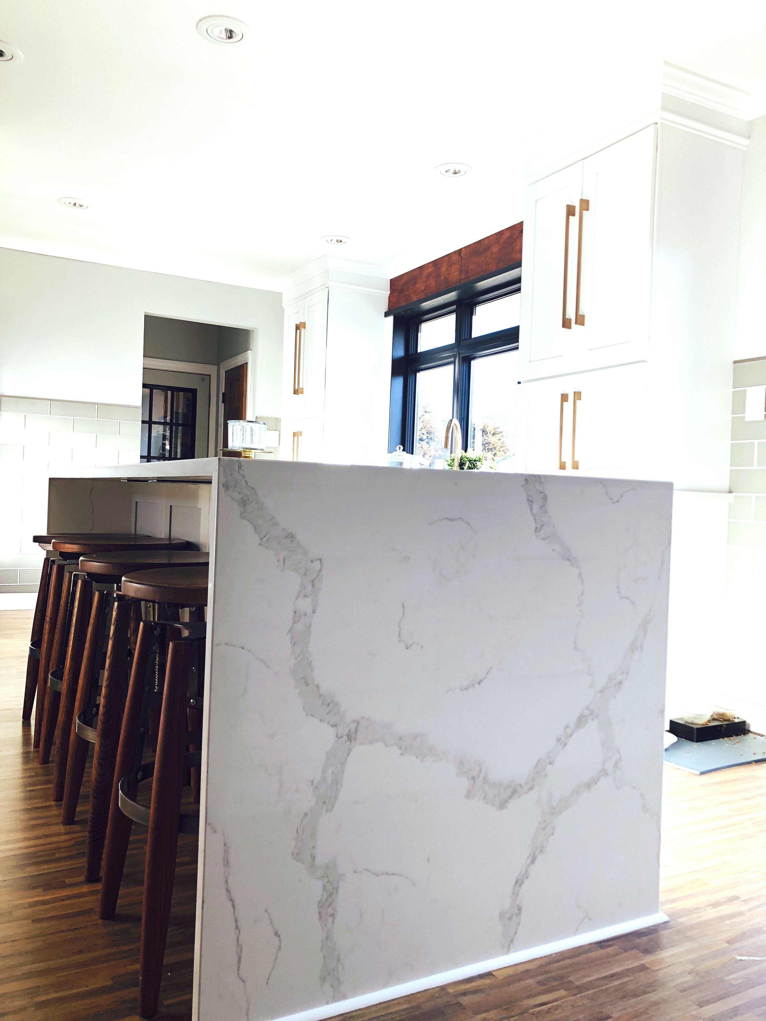 Best Waterfall White Calacatta Verona Quartz Kitchen Design 400 x 300