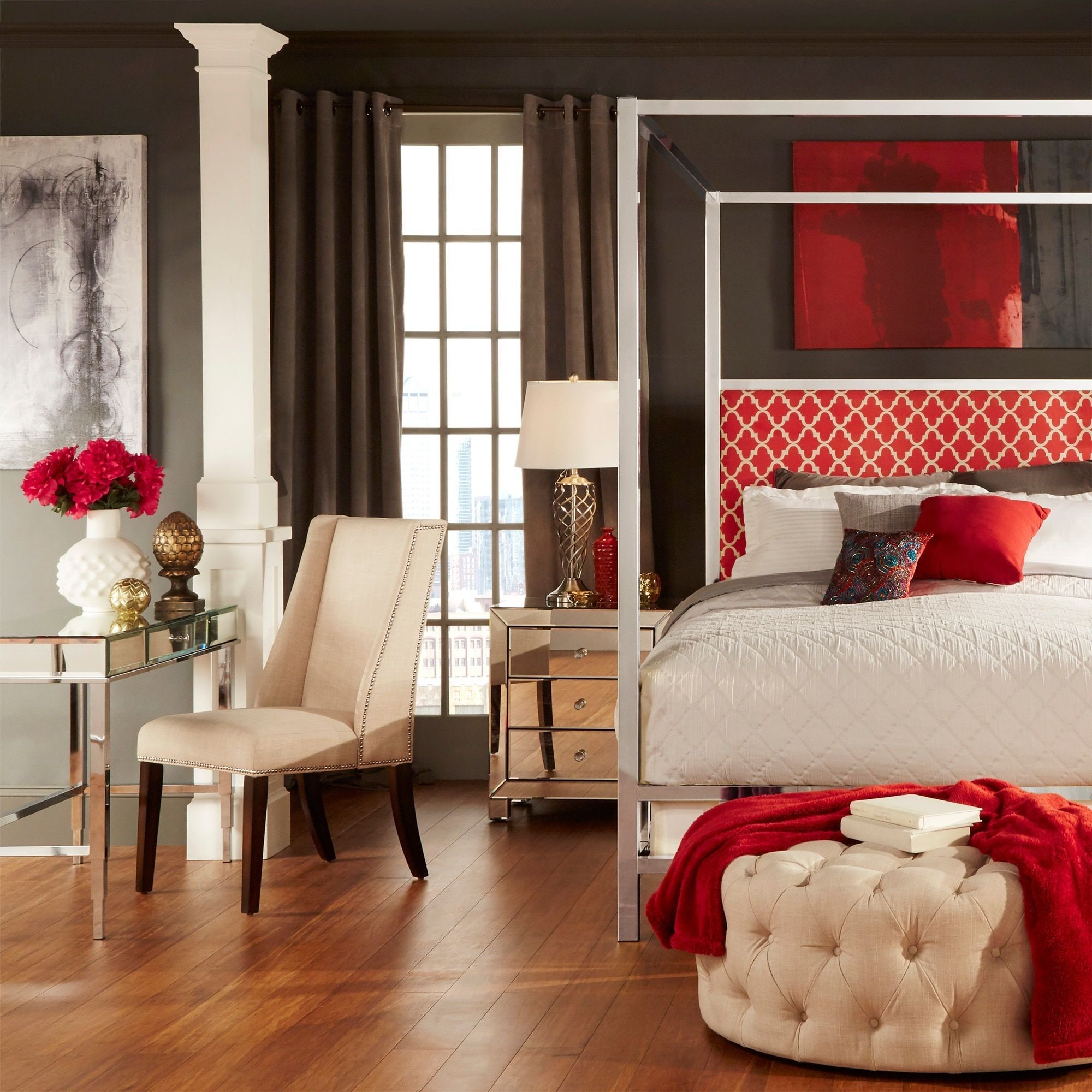 Solivita Queen-size Canopy Chrome Metal Poster Bed by Inspire Q (Moroccan  Red Linen