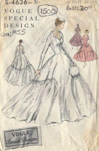 1955-Vintage-VOGUE-Patron-de-Couture-B30-BRIDES-DEMOISELLE-DHONNEUR-ROBE-CARACO