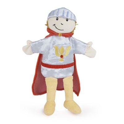 Mooie stoffen handpop model Ridder,     afmeting ongveer 30 cm