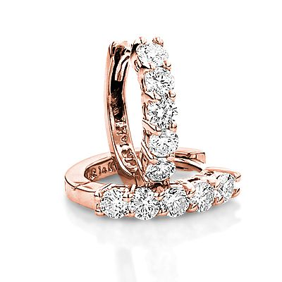 Round Diamond Huggie Earrings Hoops 14k Gold