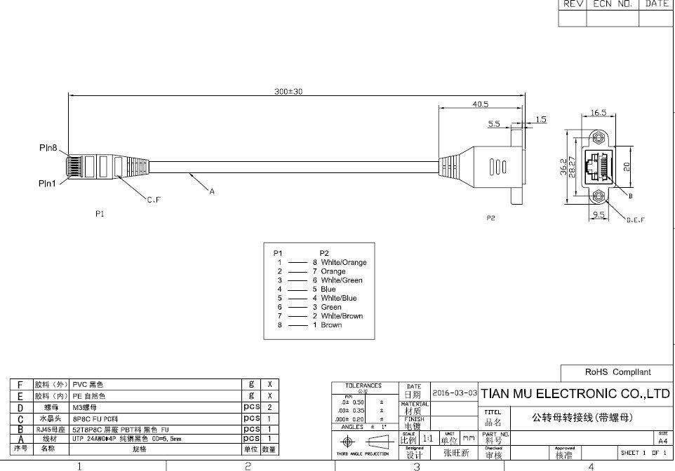 30cm 0 3m Ear Rj45 Male To Female Screw Panel Mount Ethernet Lan
