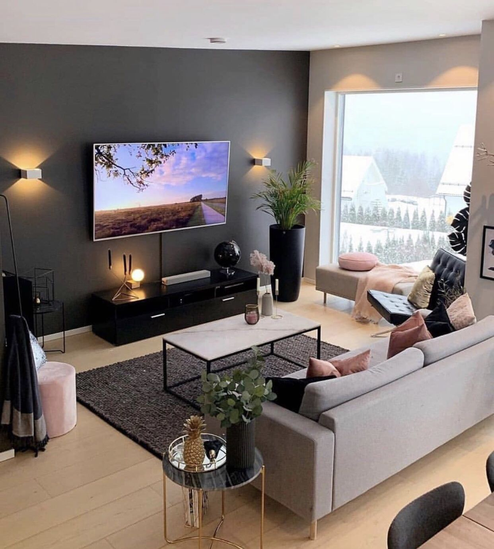 Black Grey And Pink Living Room Modern Living Room Inspiration Simple Living Room Decor Living Room Decor Apartment