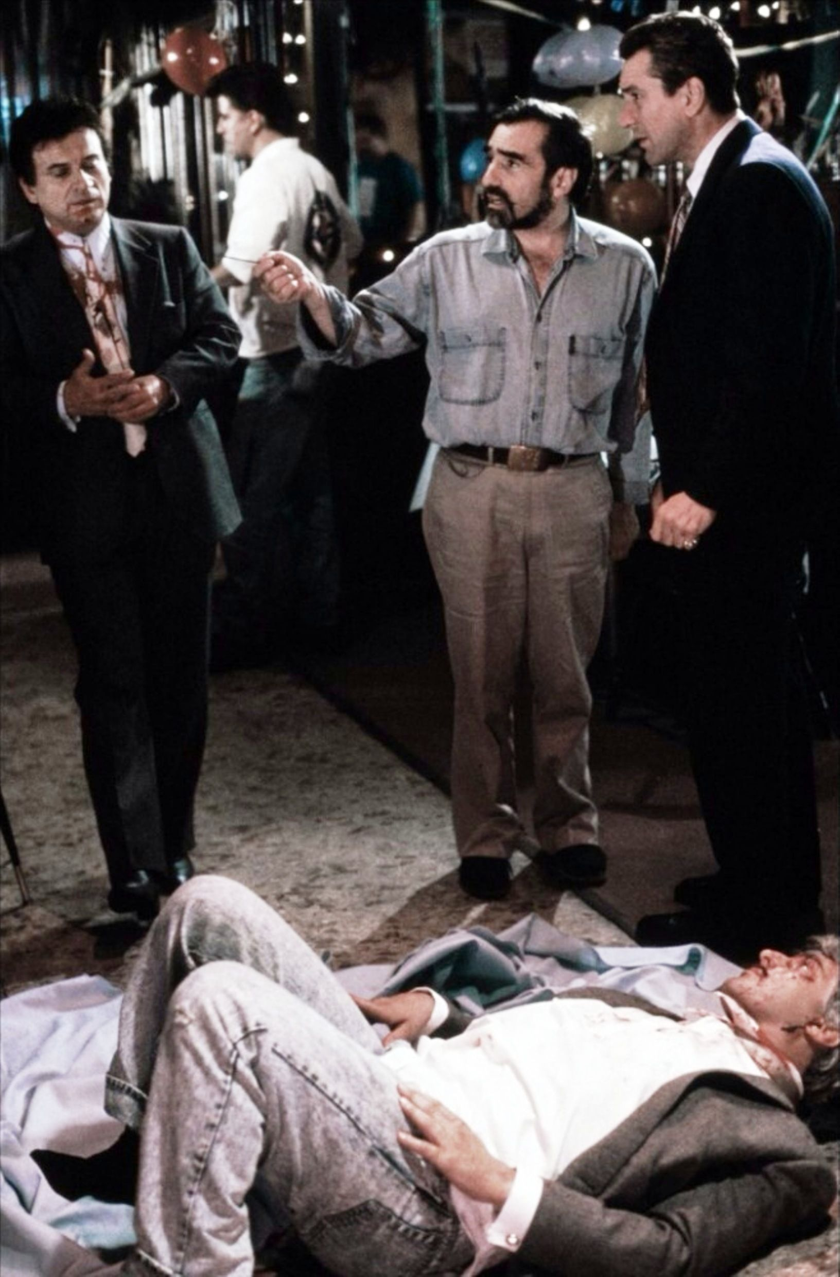 """On the set of """"Goodfellas"""", 1990. Standing (L to R) Joe"""