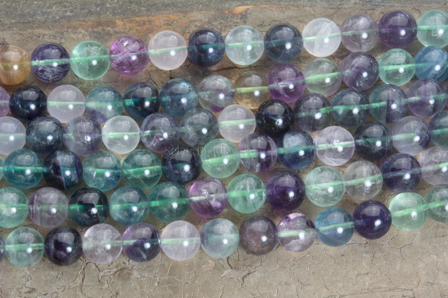Rainbow Fluorite Gemstone Beads 12mm Natural Fluorite Beads Colorful Jewelry Beads Natural Stone Beads Gemstone Beads Rainbow Gemstones Rainbow Fluorite
