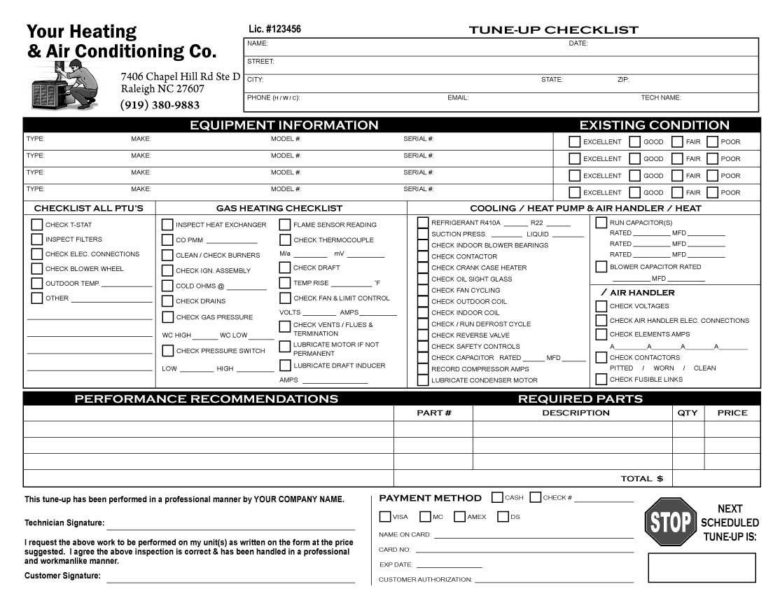 Image Result For Customer Order Form Checklist For Supplies Hvac