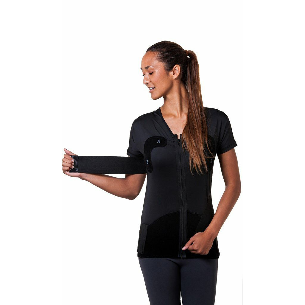 S3 Women Full Upper Body Garment | AlignMed. S3 Women Full Upper Body Garment S3® Women Full Upper Body Garment from PRO2 Medical Supplies is a full upper body garment with external Neuroband® straps, designed to increase range of motion, improve posture and reduce pain in the shoulder and spine.   The S3® Women pre-habilitation, rehabilitation, retraining device optimizes core activation, scapular function, and increases rotator cuff strength.   S3® Women Full Upper Body Garment...