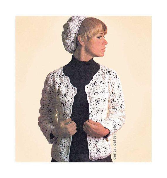 Crochet Pattern Jacket & Beret, Flower Motif Sweater and Hat Pattern ...