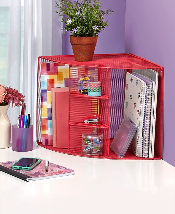 Surprising Office Desktop Corner Pink Mesh Desk Organizer 3 Shelves 2 Beutiful Home Inspiration Xortanetmahrainfo