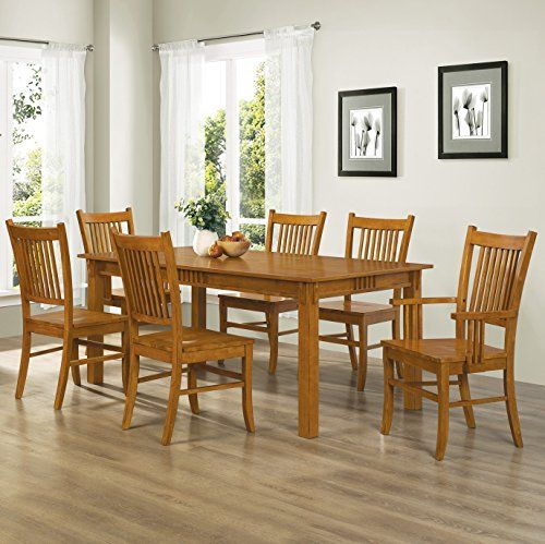 Coaster Home Furnishings 7 Piece Mission Style Solid Hardwood