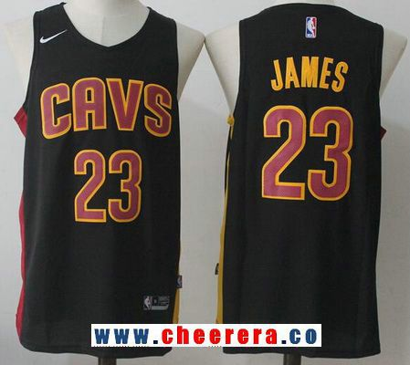 Men s Cleveland Cavaliers  23 LeBron James Black 2017-2018 Nike Swingman  Stitched NBA Jersey e46490a45