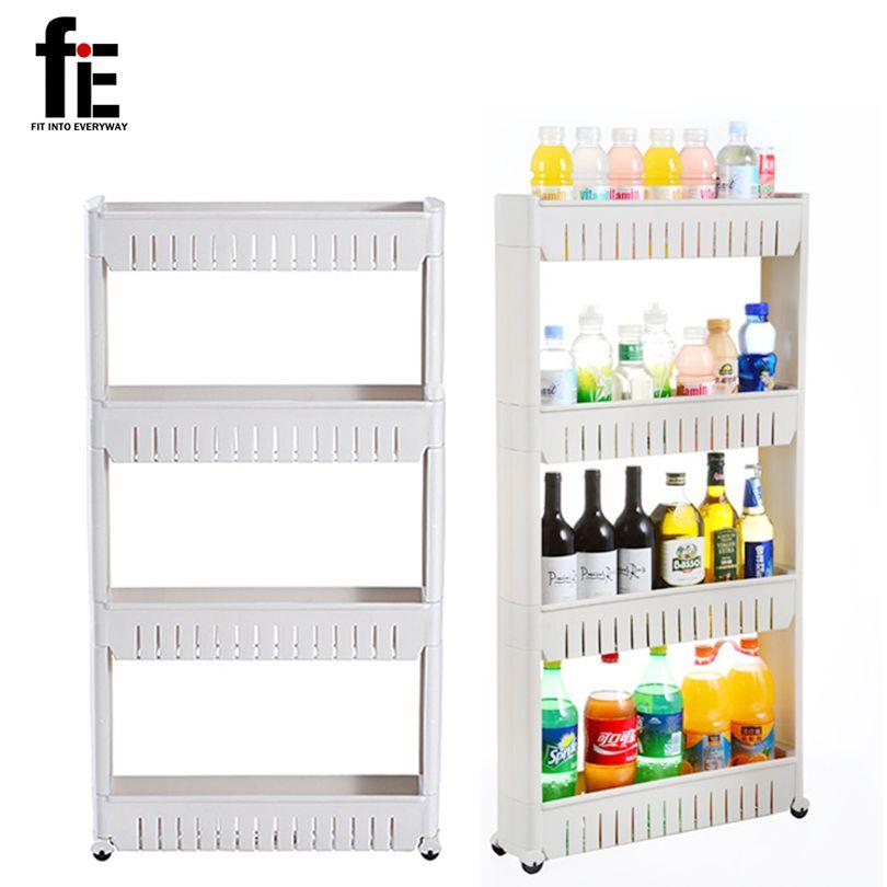 다목적 선반 이동식 바퀴 균열 랙 욕실 스토리지 랙 선반 다층 냉장고 사이드 선반
