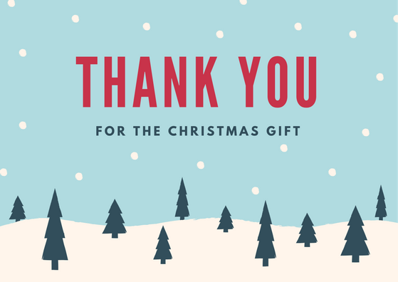 Christmas Thank You Card For Holiday Gifts Thank You Card Wording Christmas Thank You Christmas Card Template