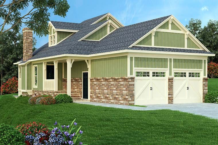 Bungalow Cottage Country Craftsman Elevation of Plan 76922 Small
