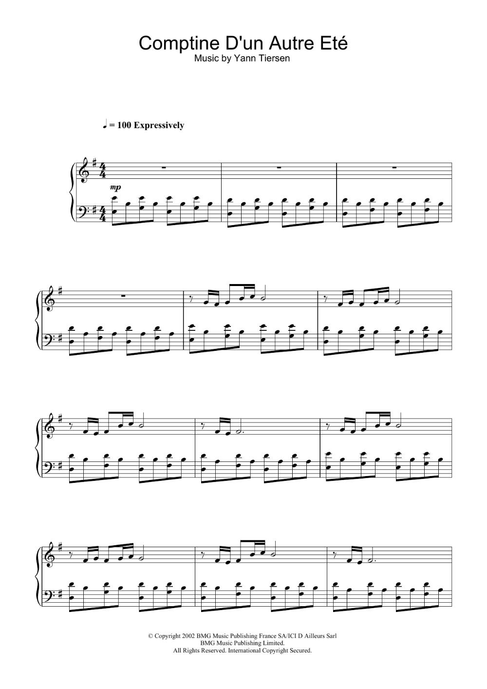 Comptine D Un Autre été Guitar Chords Comptine D Un Autre Ete From Amelie Sheet Music Yann Tiersen