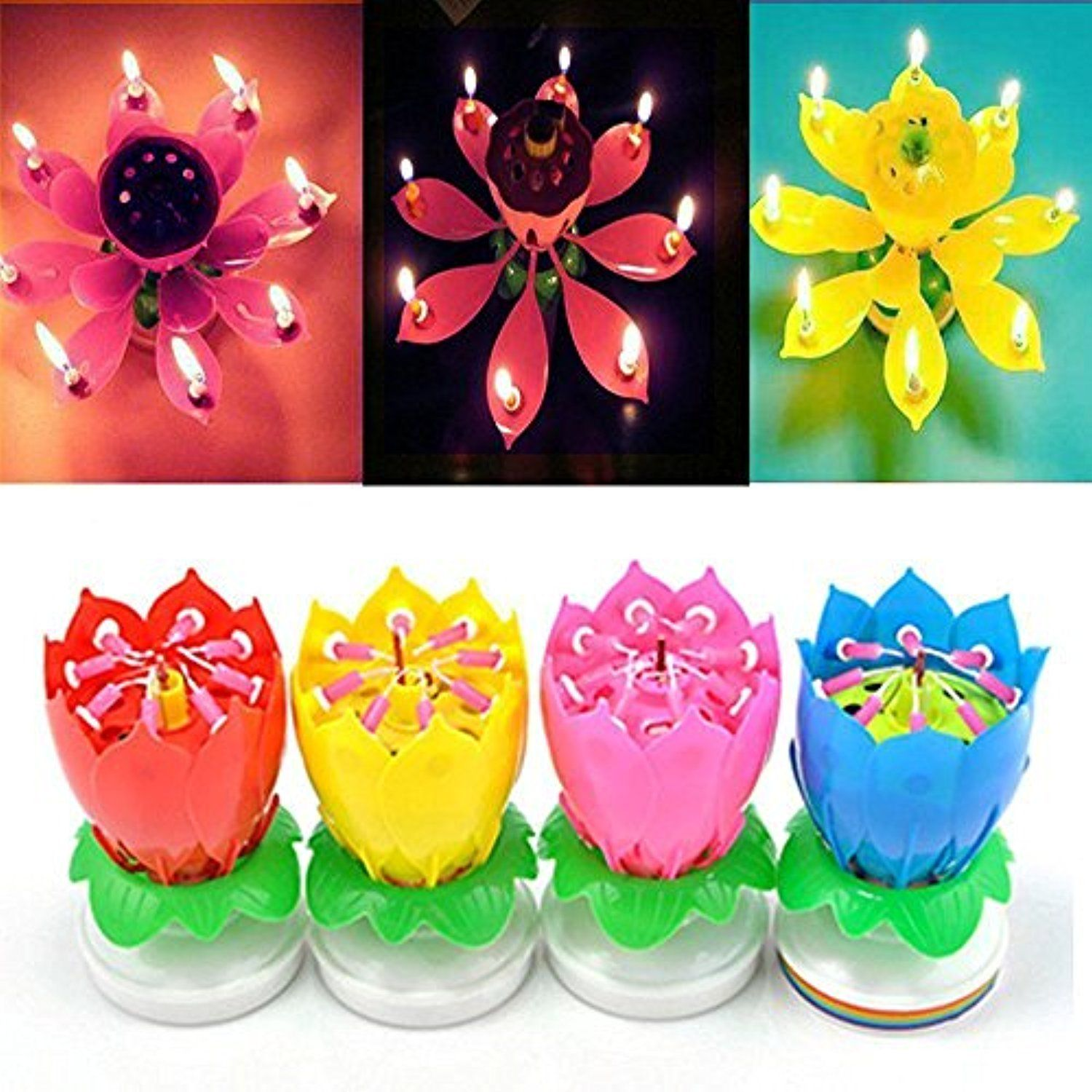 4 Pack Birthday Candles Cake Topper Candle Music Candle