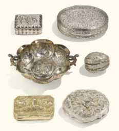 Of Royal and Noble Descent | Sotheby's - 5 continental or indian silver snuff boxes 18th/19th century