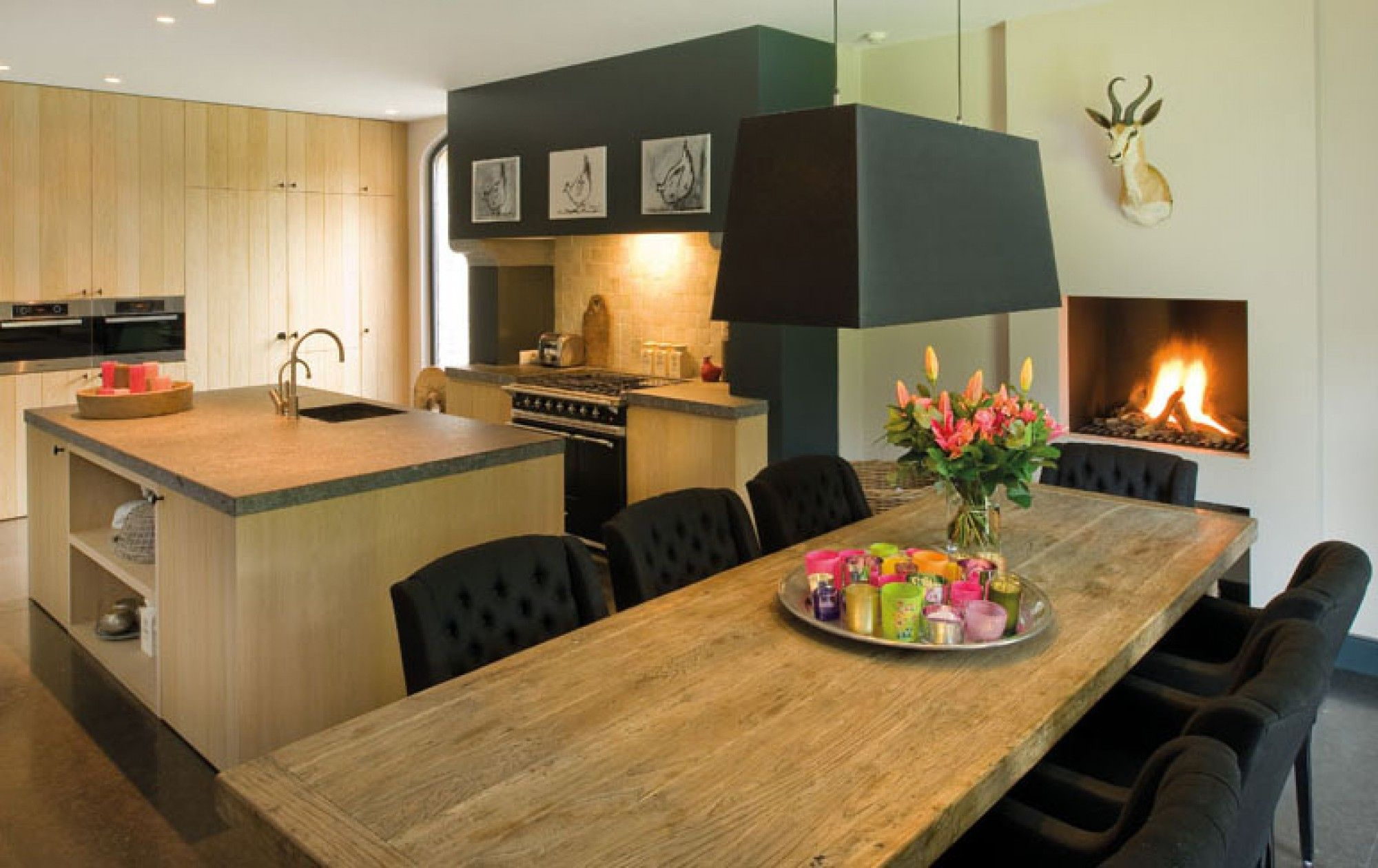 Dining table and chairs fireplace and the pendant light kitchens