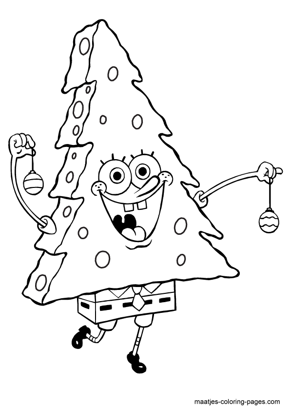 Christmas Tree Spongebob Squarepants Coloring Page Coloring Pages