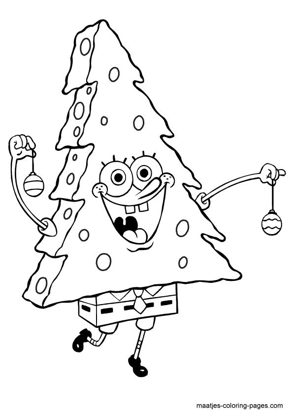christmas tree spongebob squarepants coloring page (