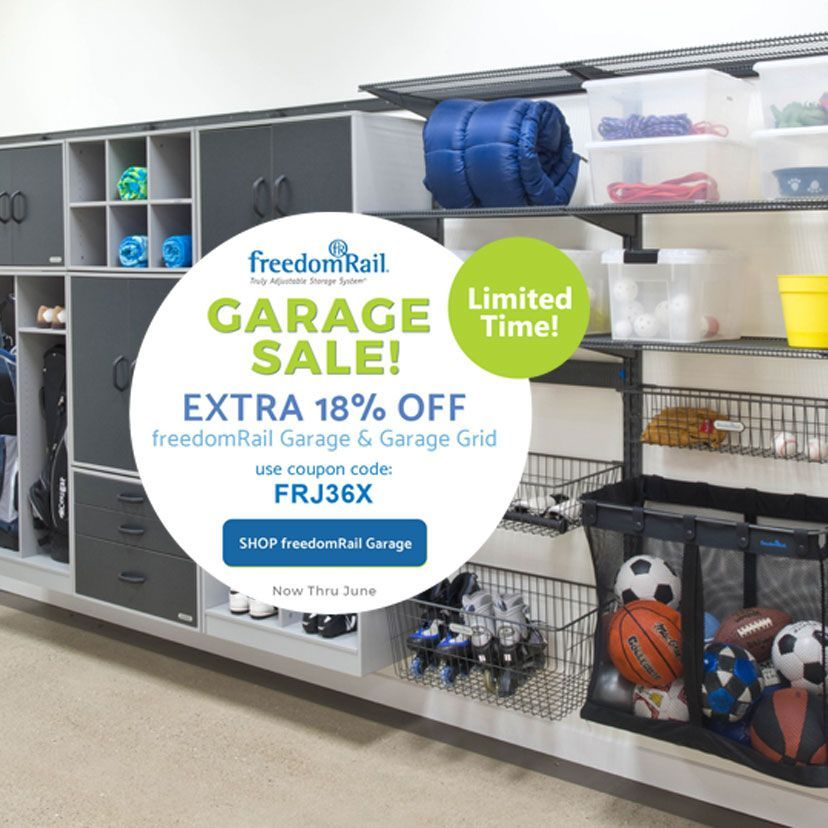 Organizing your garage For the month of June all freedomRail garage storage sy  Organizing your garage For the month of June all freedomRail garage storage system compone...