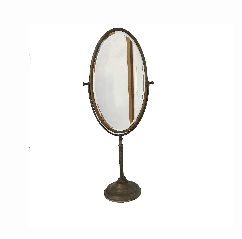 ANTIQUE VANITY MIRROR Copper Large Oval Beveled Mirror 31