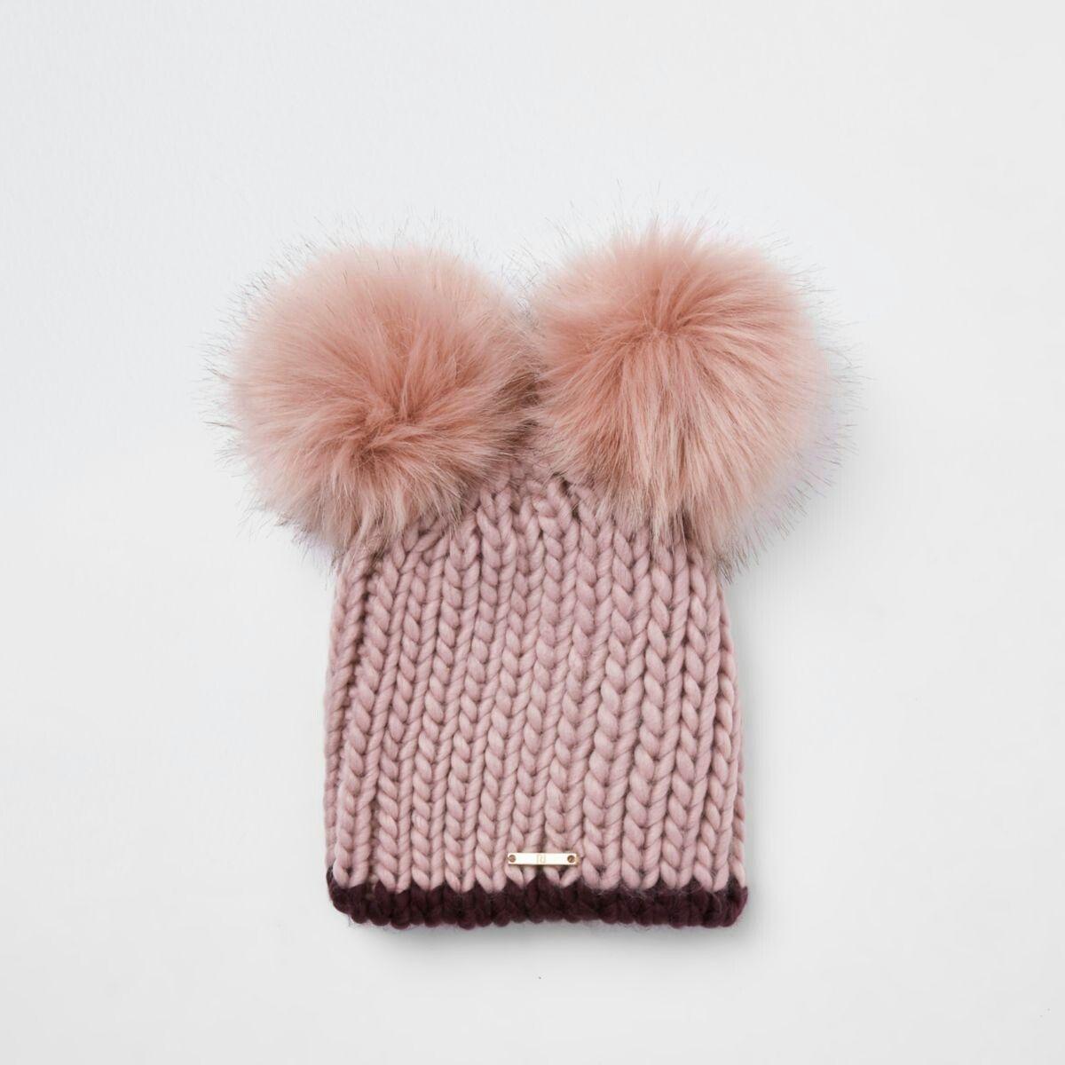 b1bd8a71e Cream faux fur double pom pom beanie | Hats in 2019 | Pom pom beanie ...