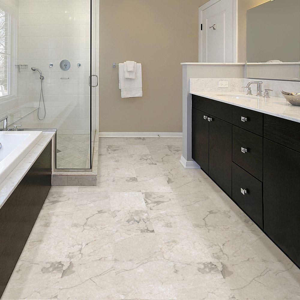 Trafficmaster Premium 12 In X 12 In Carrara Marble Vinyl Tile 6513 The Home Depot Vinyl Flooring Bathroom Bathroom Vinyl Vinyl Flooring