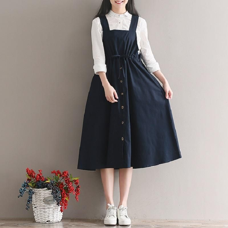 2018 Printemps Été Femmes Sans Manches Vintage Robe Bleu Marine Coton Lin Casual Lâche Vestidos Spaghetti Strap Femme Robe 2XL   – kıyafetler..