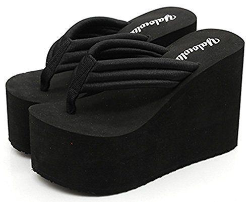 17e839f1a6f3 IDIFU Women s Comfy Wedge Platform Thong Sandals With Heels Beach ...