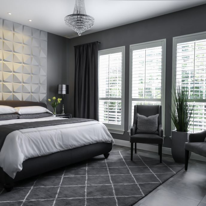 Master Bedroom Remodel | ProSource Wholesale    The neutral gray color palette was chosen for its ability to create serenity. It gives the master a warm, yet calming feel. Notice that the renovated master isn't an exact copy of the inspiration photo, but rather it shares similar elements. #colorpalettecopies Master Bedroom Remodel | ProSource Wholesale    The neutral gray color palette was chosen for its ability to create serenity. It gives the master a warm, yet calming feel. Notice that the re #colorpalettecopies