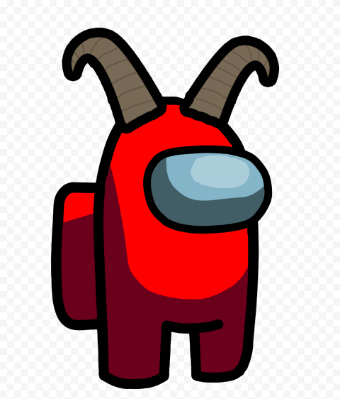 Hd Red Among Us Character With Ram Horns Png In 2021 Ram Horns Horns Png