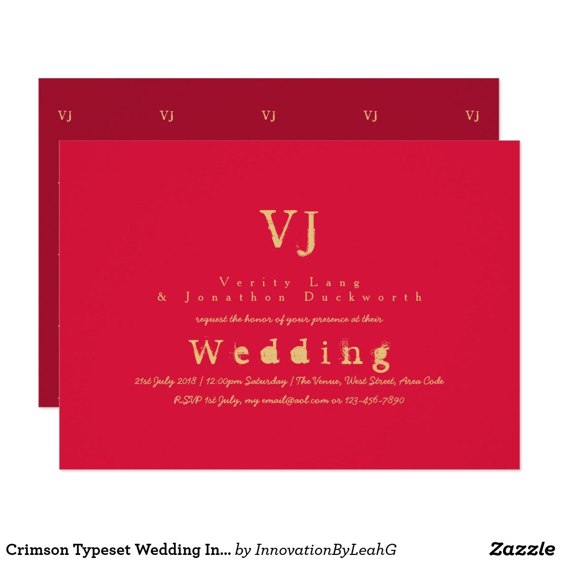 Crimson Typwriter Wedding Invitations Gold Inked | Gold ink and Wedding