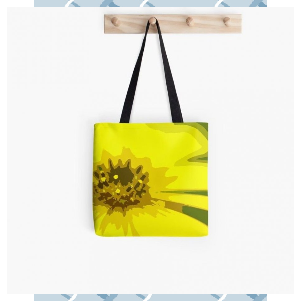 Abstract  Artsy Daisy Flower in Colorful Tones of Vivid Yellow  Tote Bag by Karen McFarland