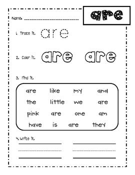This is a sample of a my kindergarten sight word practice