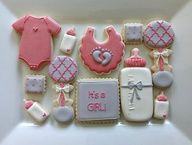 1 Dozen Baby Shower Cookies/ Pink/ Grey and by NatSweetsCookies, $36.00