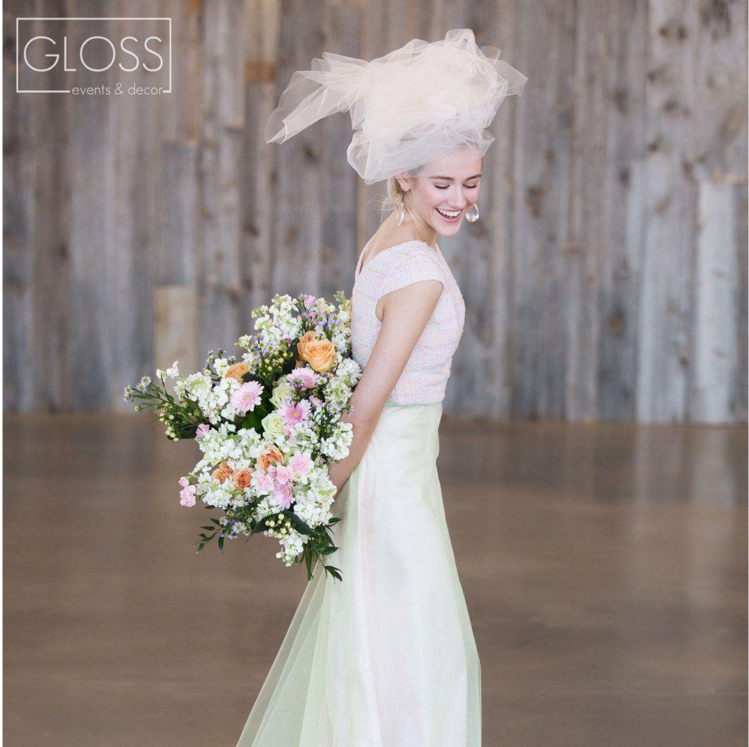 2 piece crop top wedding dress  alternative wedding gown  piece blush tweed crop top and high
