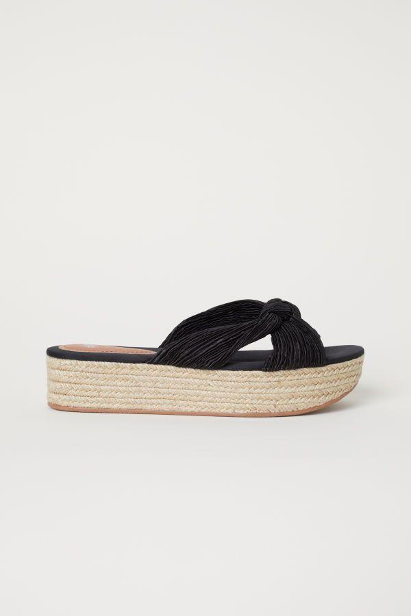 Platform Sandals | Black/satin | WOMEN