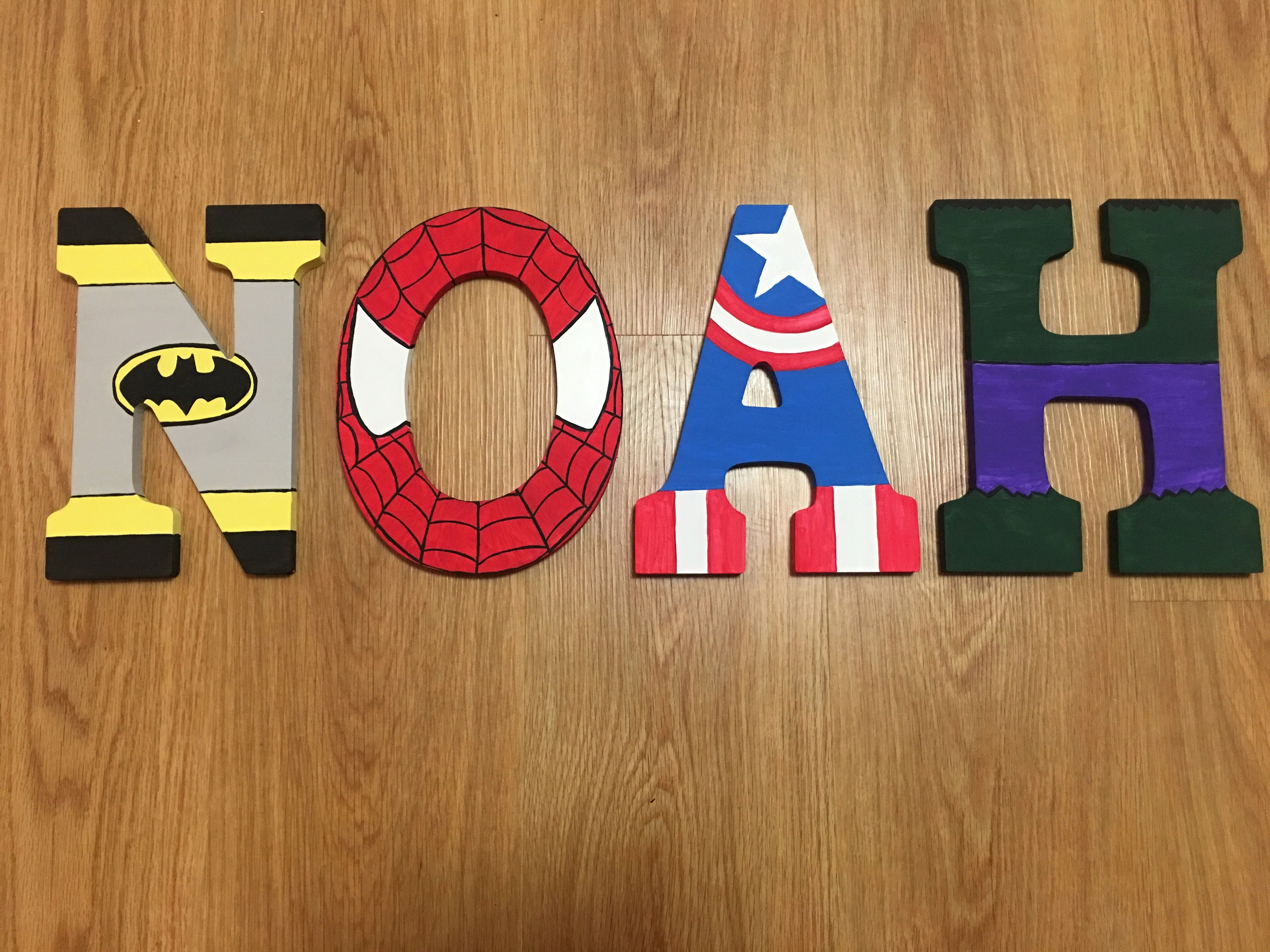 Superhero Letters Avengers Marvel D.C. Comics Batman Spider Man Hulk  Captain America Bedroom Wooden Letters Decor Bedroom