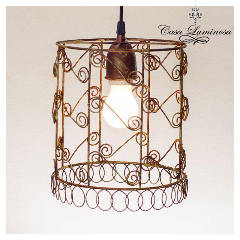 Casa Luminosa Lampara colgante en hierro & alambre__vintage
