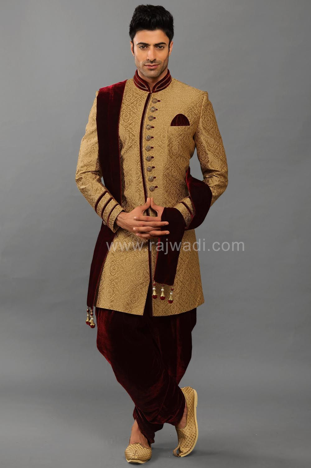 902c275d98c Online Indo Western Sherwani with Velvet Piping