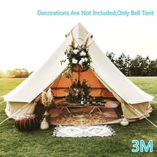 Buy 3m Canvas Bell Tent Glamping Camping Tent Yurt Waterproof Hunting Family Yurt Tent Wedding Tent Teepee Party Ten Tent Glamping Bell Tent Glamping Yurt Tent