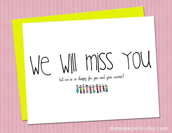 We Will Miss You Card Perfect For The Office Going Away Party