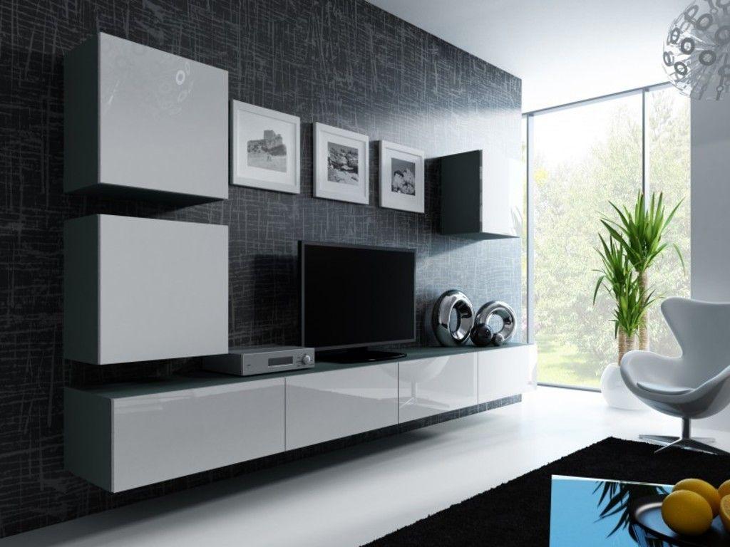 Wohnwand Anbau Wand Fernsehschrank Hängeschrank Regal Hochglanz Matt  Wohnzimmer, Farbe:grau Matt / Weiß
