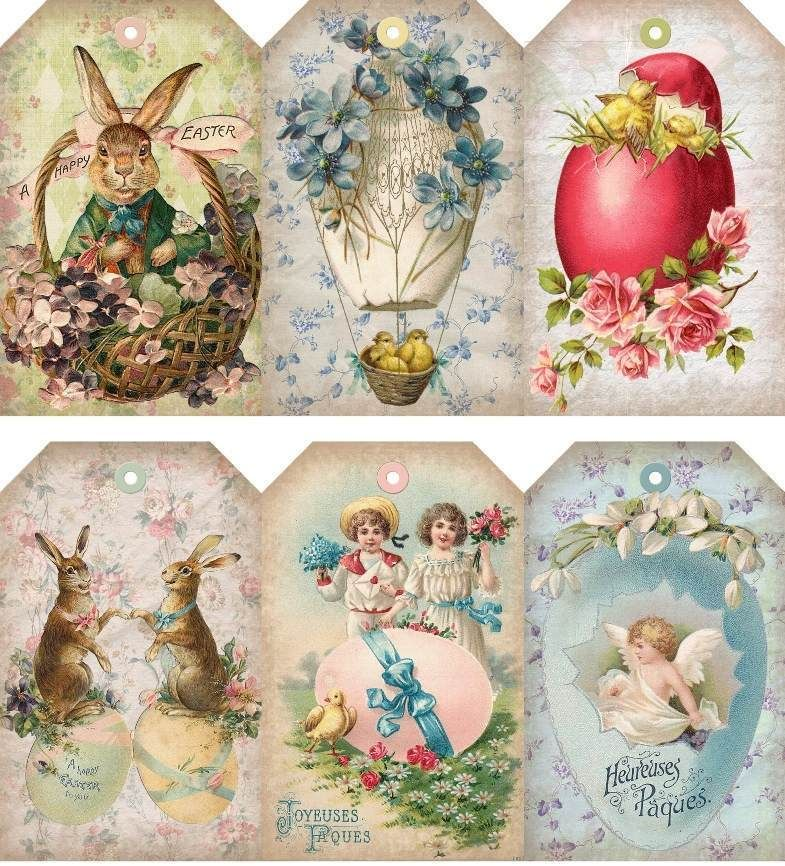Details about 12 handgift tags easter vintage scrapbook images 12 hang gift tags vintage easter images 929 a negle Images