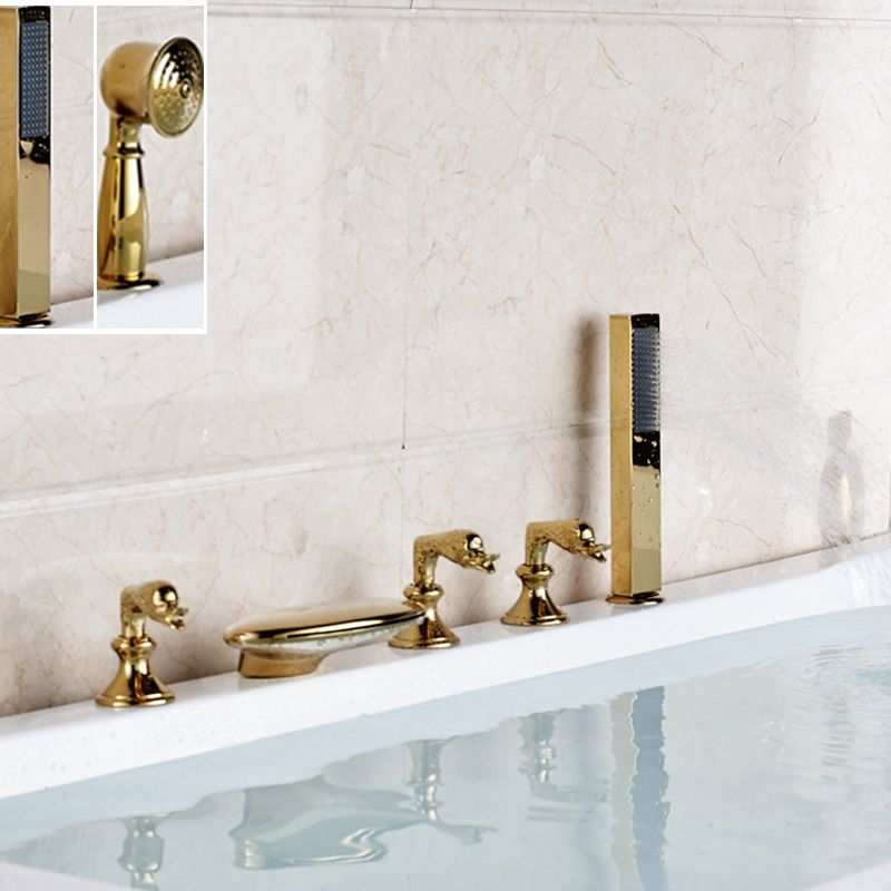 Widespread Golden Brass Waterfall Bathroom Tub Faucet W/ Hand Shower ...