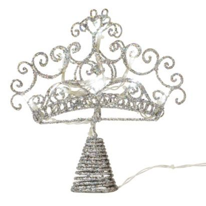 B Battery Operated Led Glitter Crown Tree Topper 5052931103720