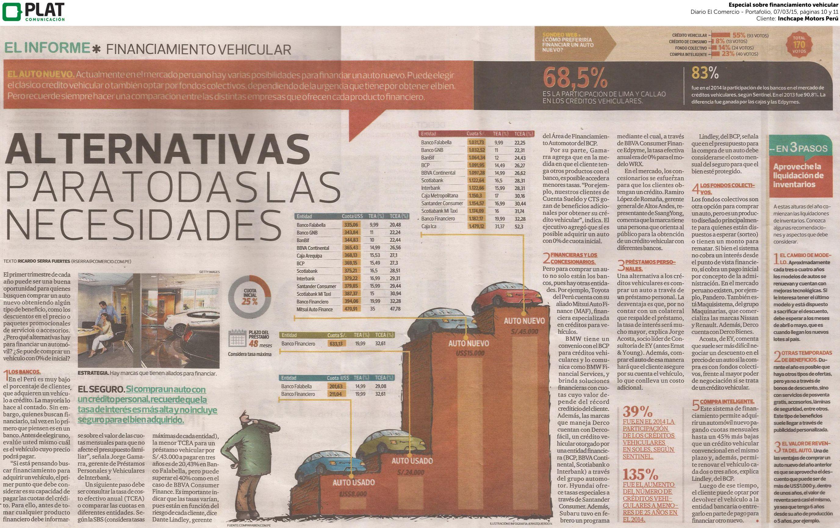 Inchcape Motors: Especial sobre financiamiento automotriz en el diario El Comercio de Perú (07/03/15)