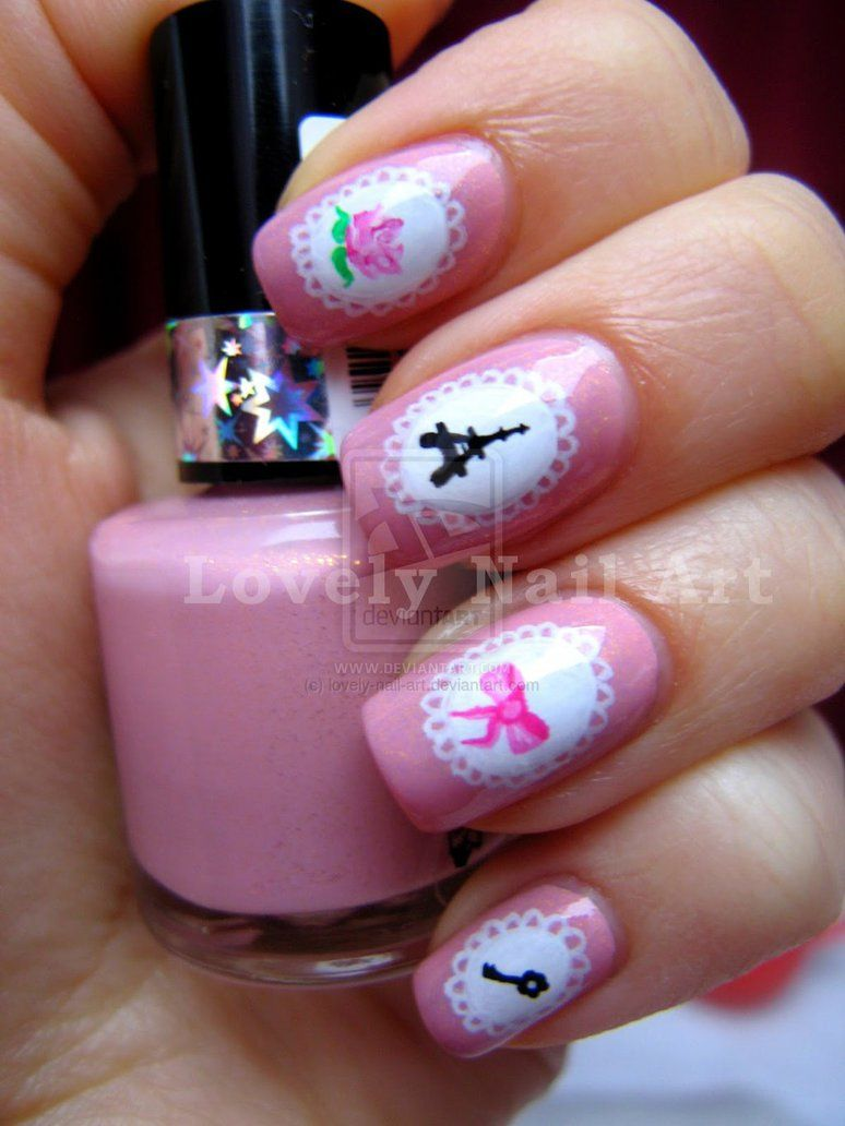 Super girly nail design by ~lovely-nail-art on deviantART - Super Girly Nail Design By ~lovely-nail-art On DeviantART Girly